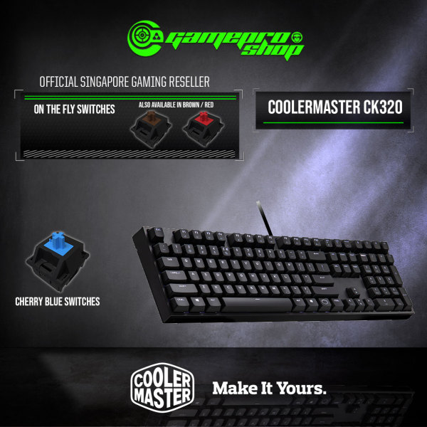 CoolerMaster CK320 Mechanical White LED Gaming Keyboard - (2Y) Singapore