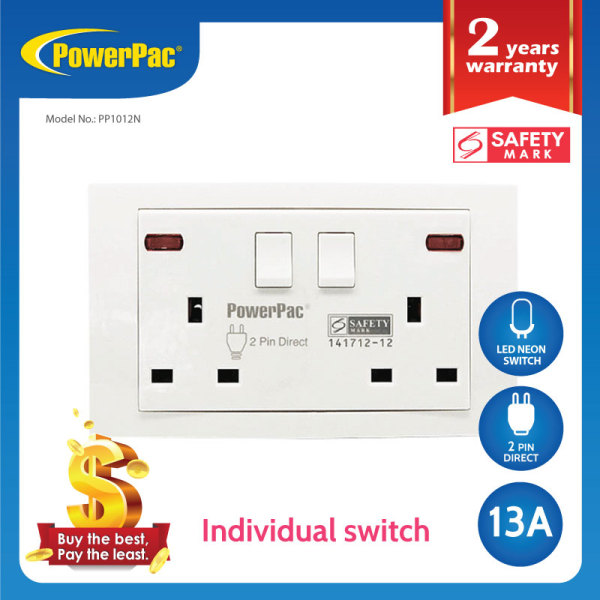 PowerPac- Led neon 13A 2Gang Switched Socket / Wall Socket with 2 Year Local Warranty (PP1012N)