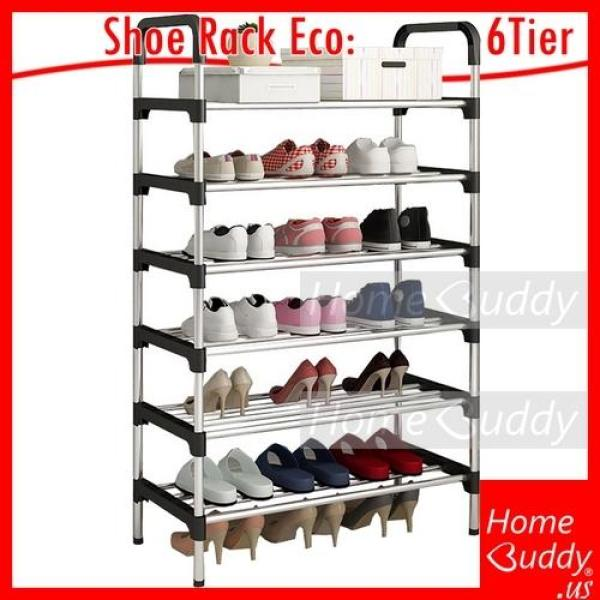 Shoe Rack Eco [Stainless Steel] 6 Tiers_ READY Stocks SG. Reach you 2 to 4 work days_ HomeBuddy_ Acev Pacific_ shoe cabinet_ bto shoe rack