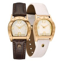 Best Rated Aigner Asti Due Brown And Cream Leather Strap Watch