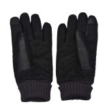 Compare Price Anti Slip Men Thermal Winter Sports Leather Touch Screen Gloves Black On China