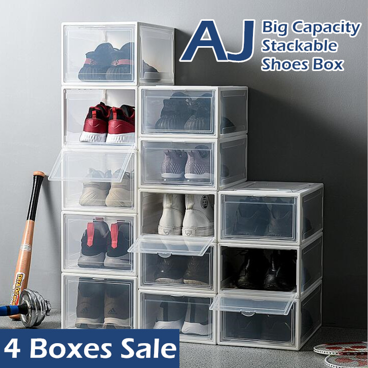 ♦ 4 BOXES SALE ♦ BIG Capacity Hard Plastic AJ Stackable Shoes Box Storage Rack ♦ Foldable Shoe Cabinet Drawer Shelf