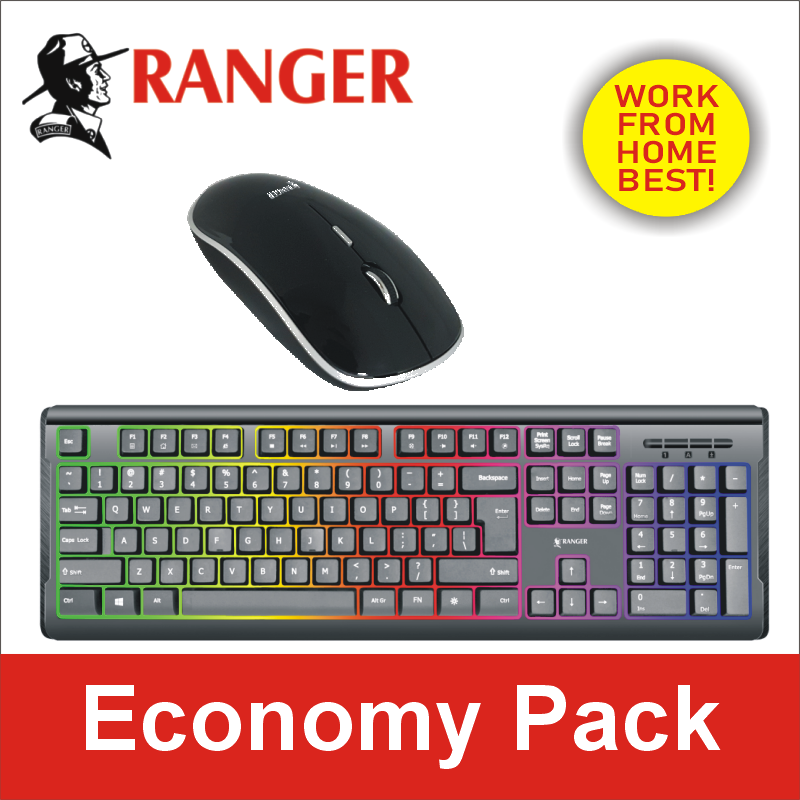 Ranger Economy Pack -Ranger Glow Colourful Backlit Wired USB Keyboard AND Ranger MS199 Wireless Optical Mouse Singapore