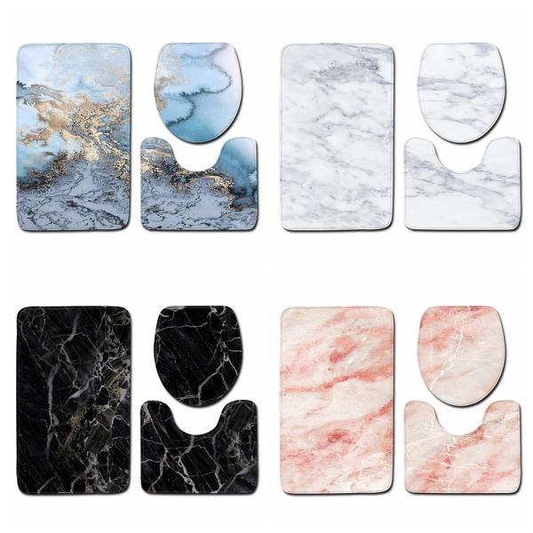 HRRIUNG 3pcs High Quality Marble Pattern Anti Slip Washable Bathroom Mat Set Bath Mats Toilet Seat Lid Cover Pedestal Rug