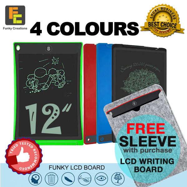 LCD Writing & Drawing Tablet Pad Board size 8.5 / 12 inch. 4 Colors [FREE SLEEVE]