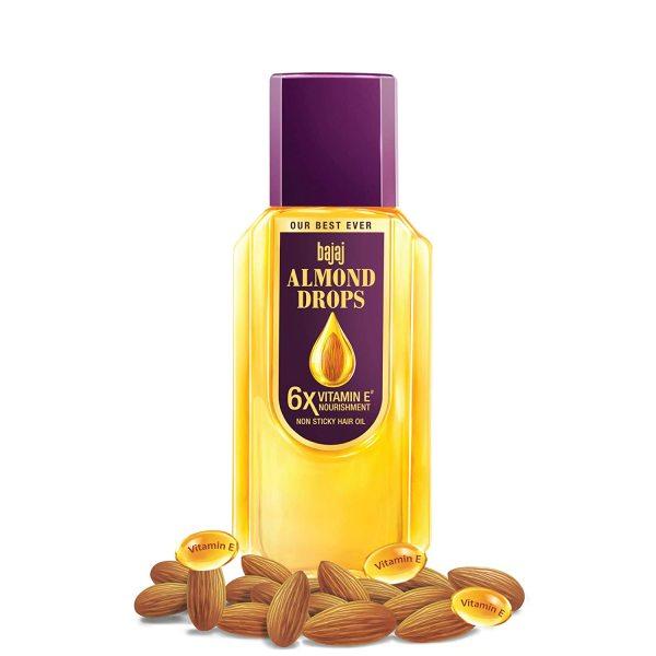Buy Bajaj Almond Drops Non-Sticky Hair Oil, 300ml- 6x Vitamin E Nourishment Singapore