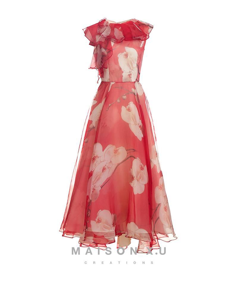 Paris High Order Romantic 100% Real Silk 【maison X. U] In France High Zxl 2020 Long Skirts.