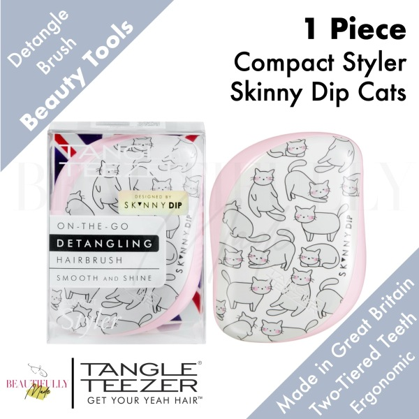 Buy Tangle Teezer Compact Styler Skinny Dip Cats - Detangler Hairbrush Untangle Every Strand of Hair Quickly & Gently • Travel Friendly with Protective Cover Singapore