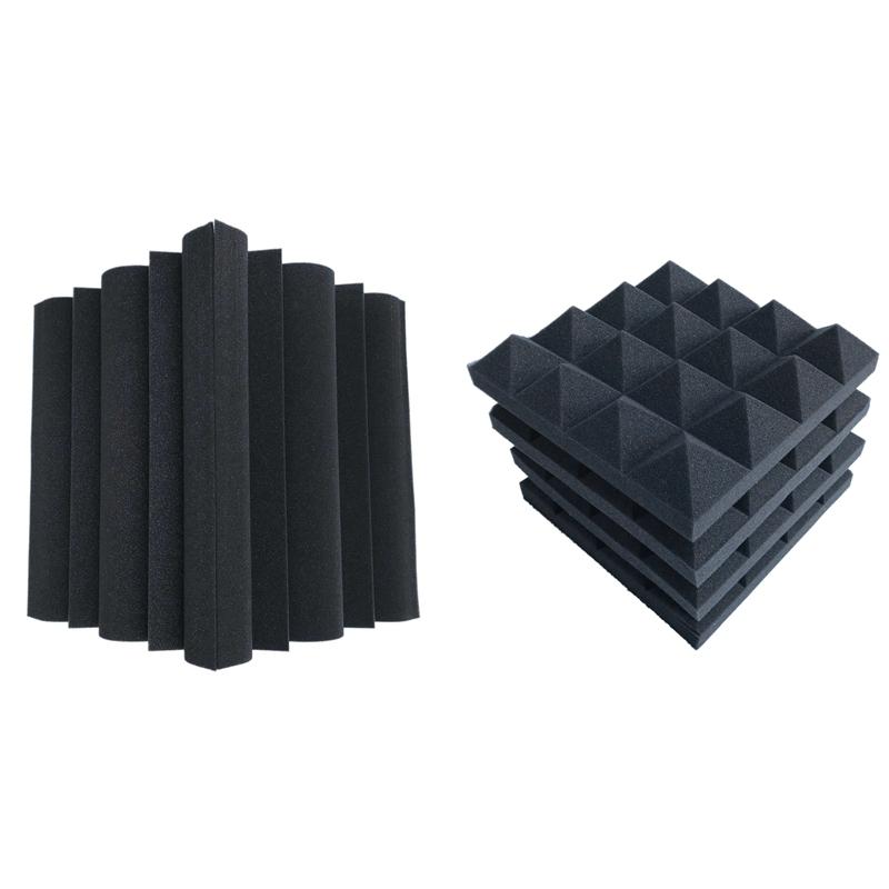 16 Pcs Acoustic Foams:12 Pcs Soundproofing Foam Sound Absorption Pyramid Studio Treatment Wall Panels & 4 Pcs Corner Bass Trap Acoustic Panel Studio Sound Absorption Foam
