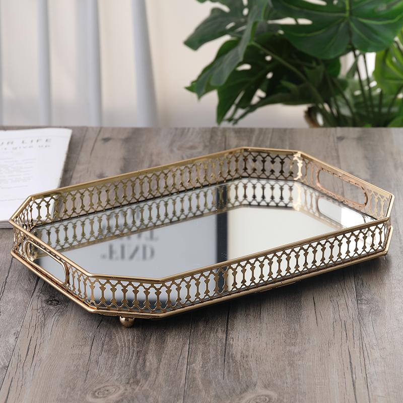 Northern Europe Light Luxury Metal Tray Rectangular Mirror Fruit Plate Household Creative Restaurant Tea Tray Cosmetics Storage Tray