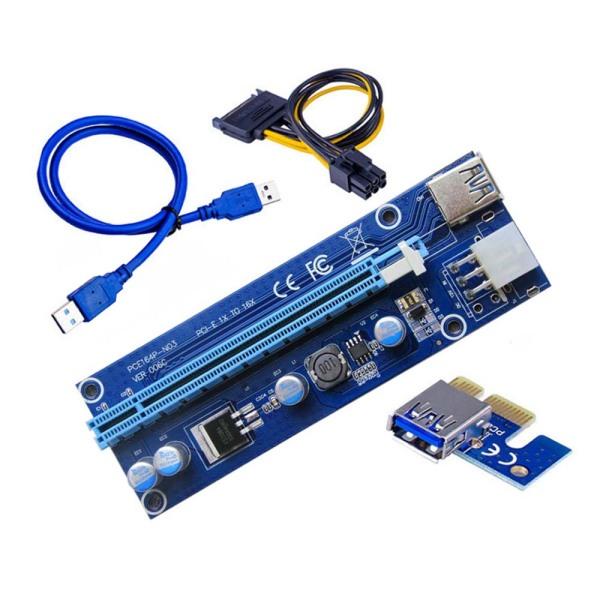 Bảng giá PUREMOM 60 cm để khai thác Dây cáp điện Nguồn SATA 6 pin PCI-E 1X đến 16X VER006C Bộ điều hợp cạc đồ họa Bộ điều hợp PCI Express Cáp mở rộng cạc đồ họa Máy mở rộng thẻ Riser Phong Vũ