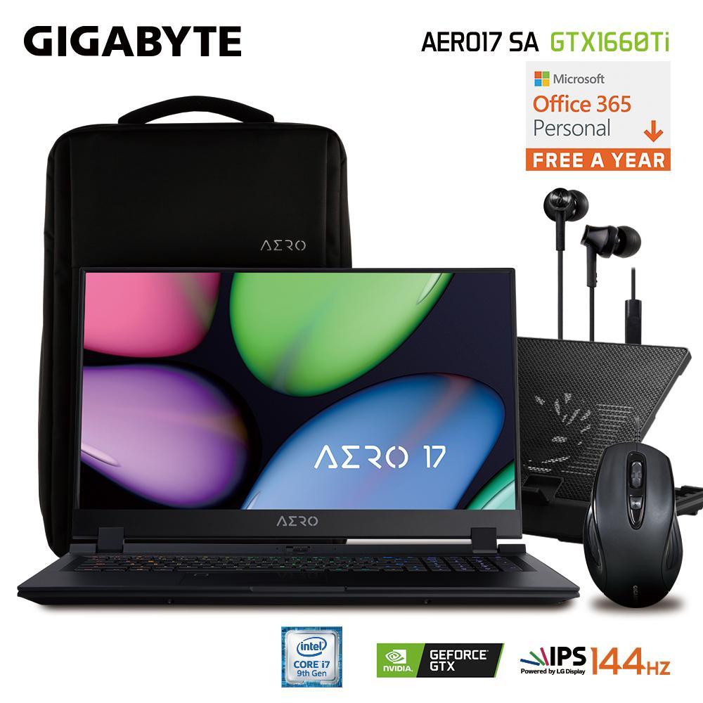 GIGABYTE AERO 17 SA FHD (i7-9750H/16GB SAMSUNG DDR4 2666 (8GB*2)/GeForce GTX 1660 Ti GDDR6 6GB/512GB INTEL 760P PCIE SSD/17.3 Thin Bezel LG 144Hz FHD IPS/WINDOWS 10 PROFESSIONAL+OFFICE 365) [Ships 2-3 days]