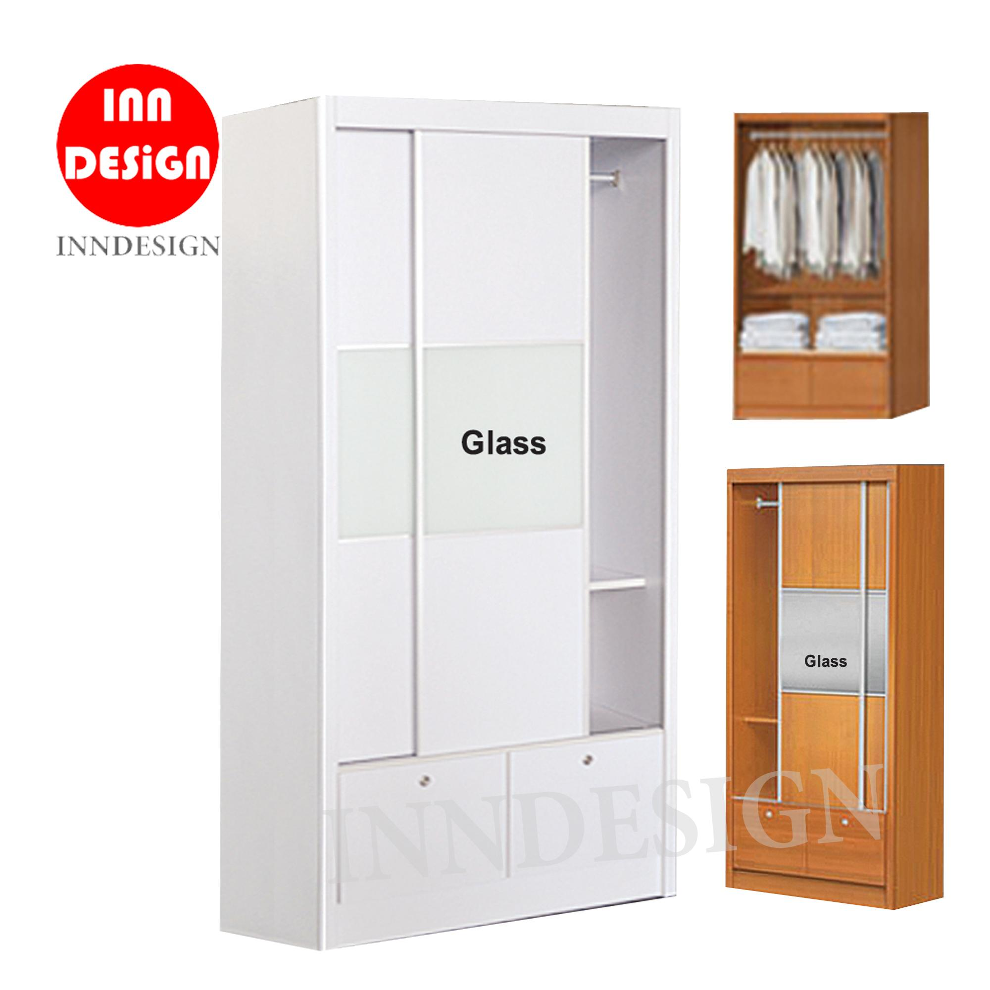 Russel 2 Doors Sliding Wardrobe With 2 Drawers (Free Delivery and Installation)