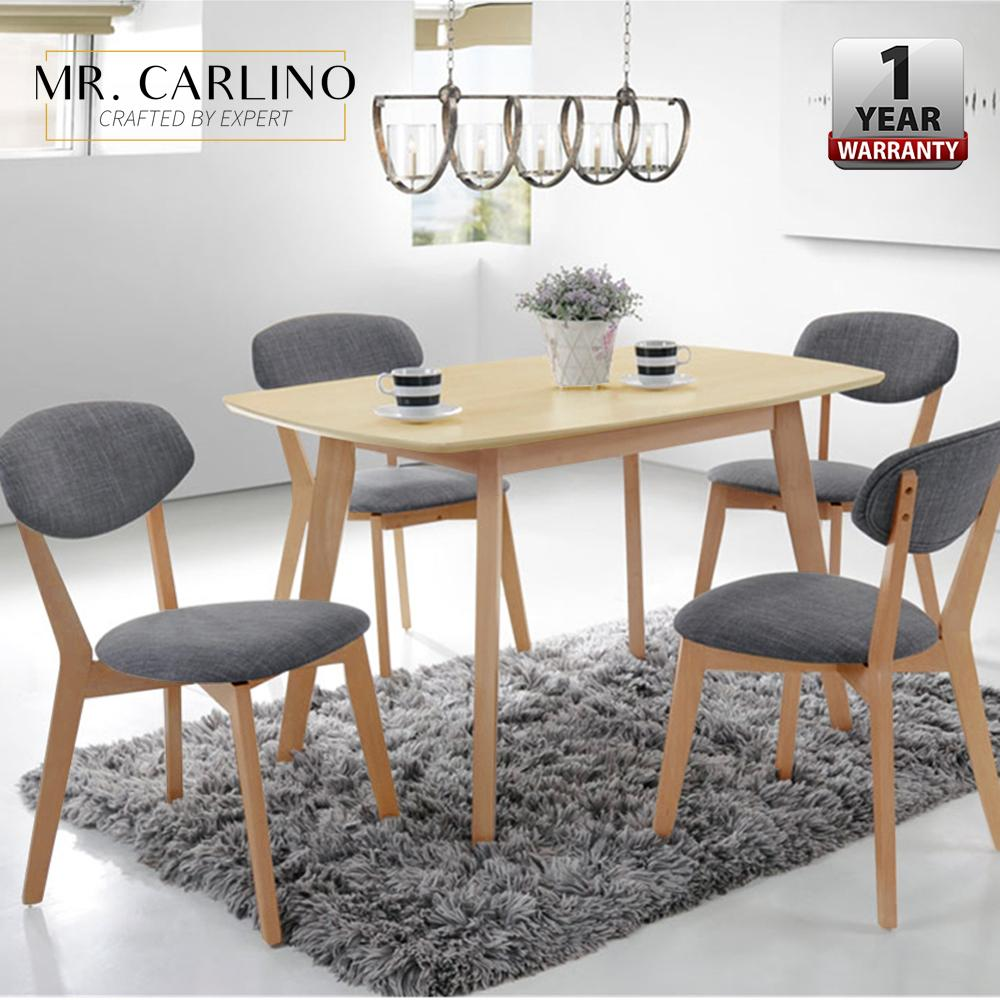 MIRZA Rubber Solid Wood Dining Table Set With 4 Chairs