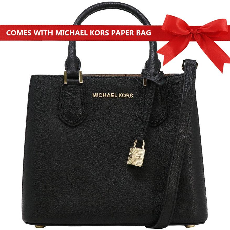 a5571e5ded4a6a Michael Kors Crossbody Bag Adele Medium Messenger Leather Satchel Handbag  Black / Gold # 35T8GAFM2L +