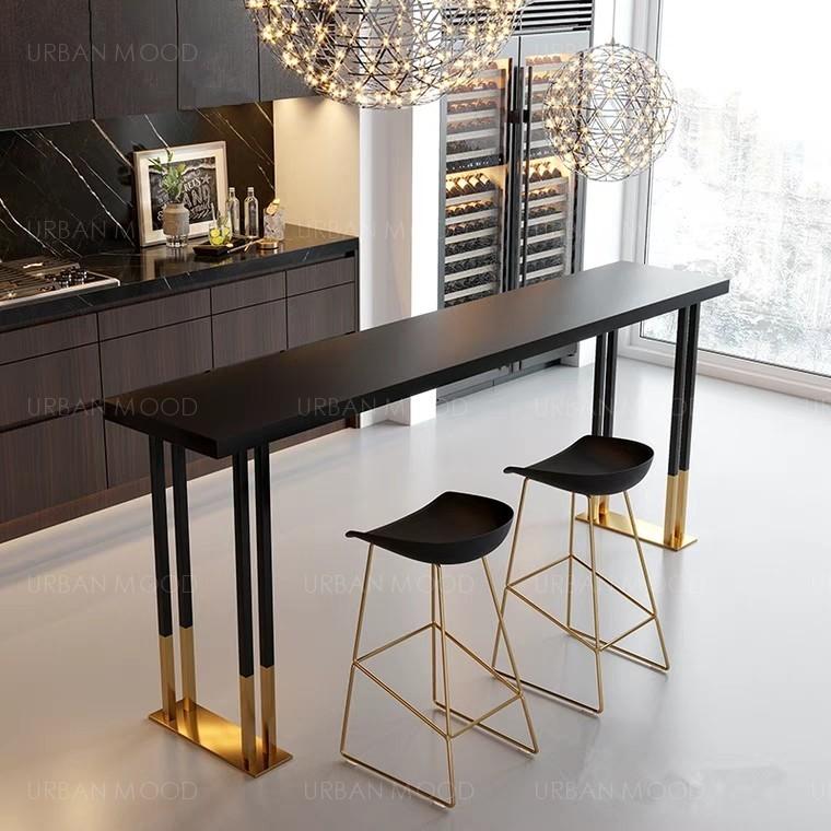 CARRAWAY Contemporary Gold Trim Bar Table & Stool