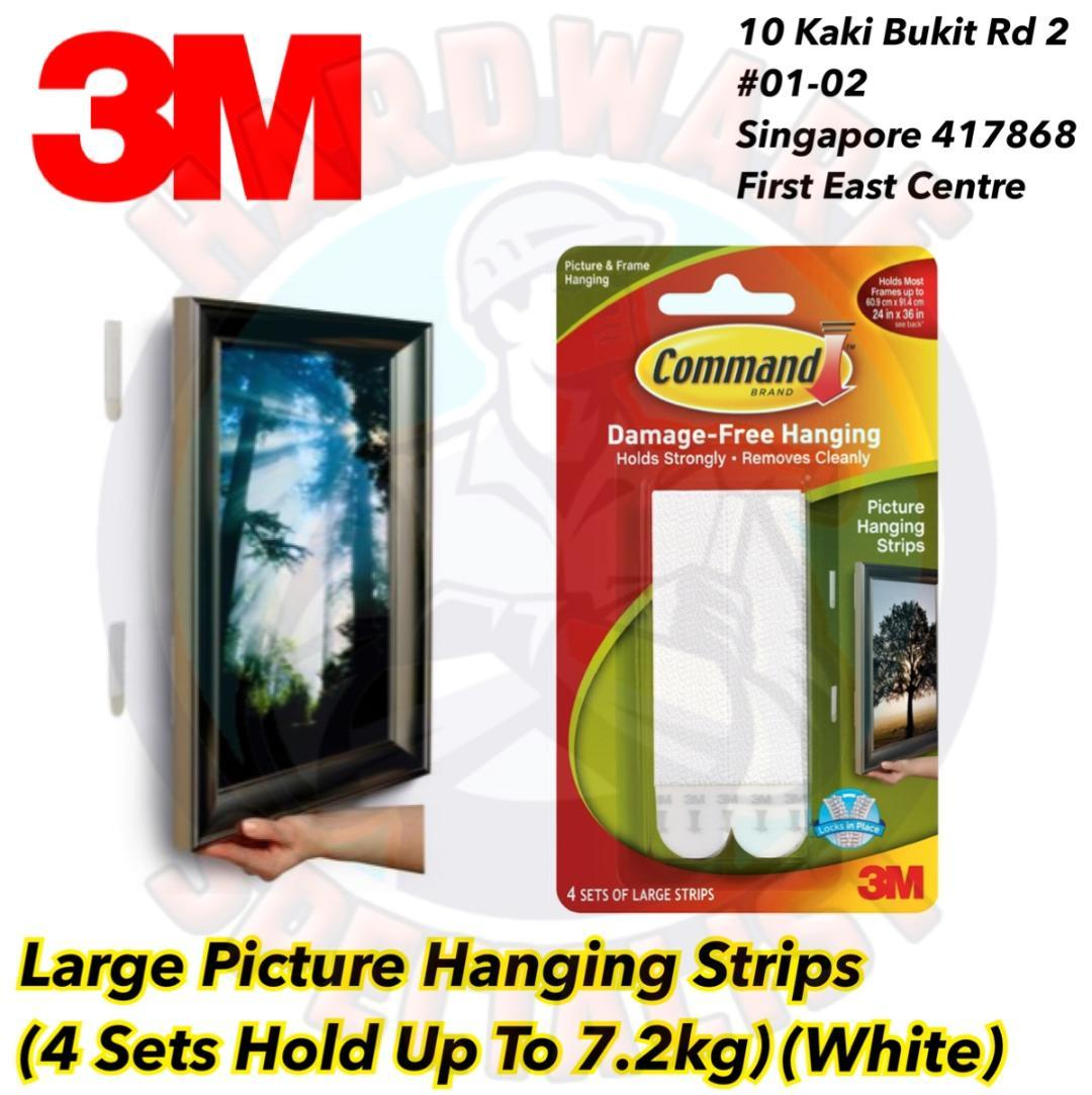 3M Command Large Picture Hanging Strips 17206 White (4 Sets/Pack)