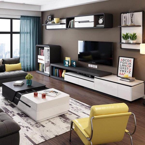 Black Premium Wooden Furniture Length Adjustable  TV Console