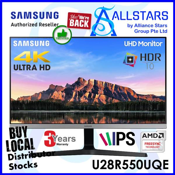 (ALLSTARS : We are Back / Monitor Promo) Samsung 28 inch U28R550 / U28R550UQE 4K IPS Monitor / HDR10 / FreeSync / PIP / PBP / DPx1+HDMIx2 /Headphone Out) (Warranty 3years on site with Samsung Singapore)