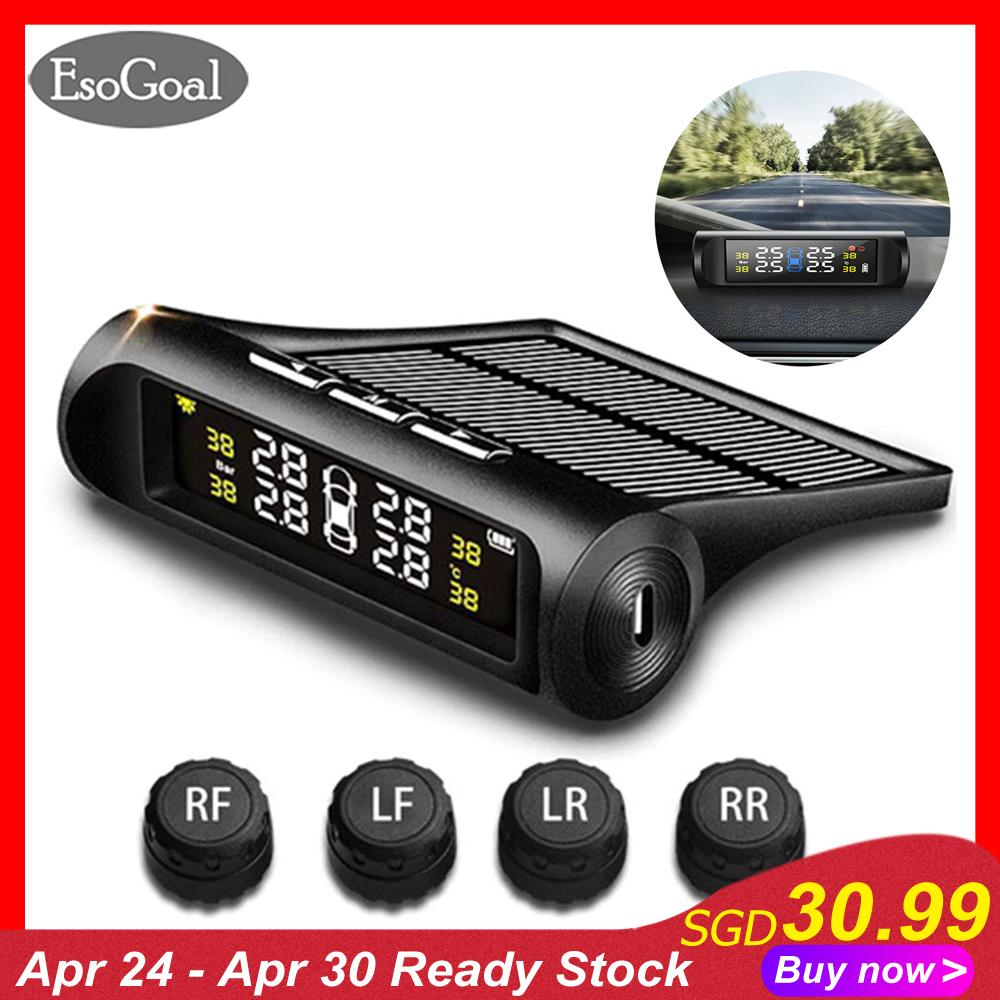 Esogoal Tyre Pressure Monitoring System Solar Tpms Car Tyre Pressure Alarm System With Lcd Display 4 External Sensors Usb Charging Suitable For Commercial Car Jeep Off-Road Vehicle Minibus And Sedan Car By Esogoal.