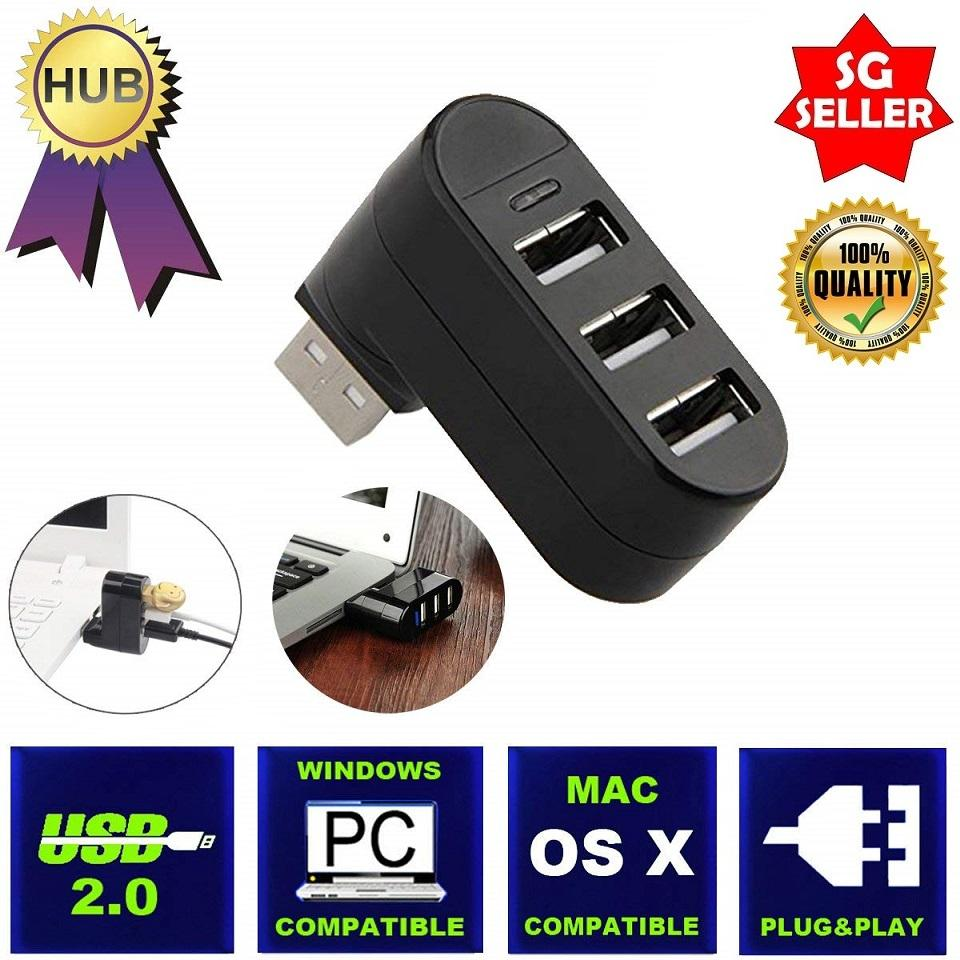 360 Rotation Multi 3 Port Hub USB Splitter USB 2.0 480Mpbs MAC/Windows/PC/Laptop
