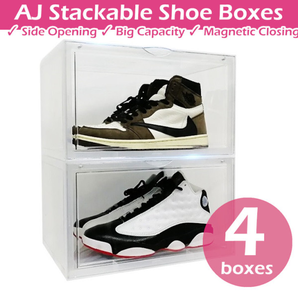 NEW ♦ 4 Boxes Sale ♦ Magnetic Closing Side Opening Big Capacity AJ Stackable Shoe Box Rack Storage Cabinet Sneakers Drawer Shelf