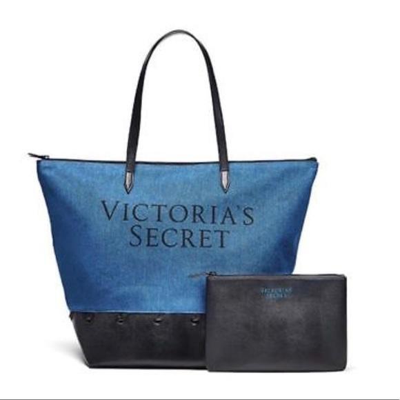 fdfe79304e VS Victoria s Secret 2-pc set carry all denim zipped tote bag with faux  leather