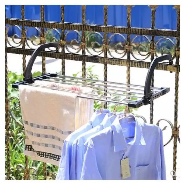 Shoes balcony racks/Clothes Stainless steel Drying Rack/Laundry Foldable Drying Towel Balcony Shelve