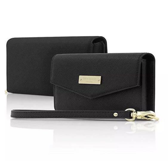 (SG SELLER) Kate Spade New York Saffiano Leather Large Wristlet Wallet (Black)