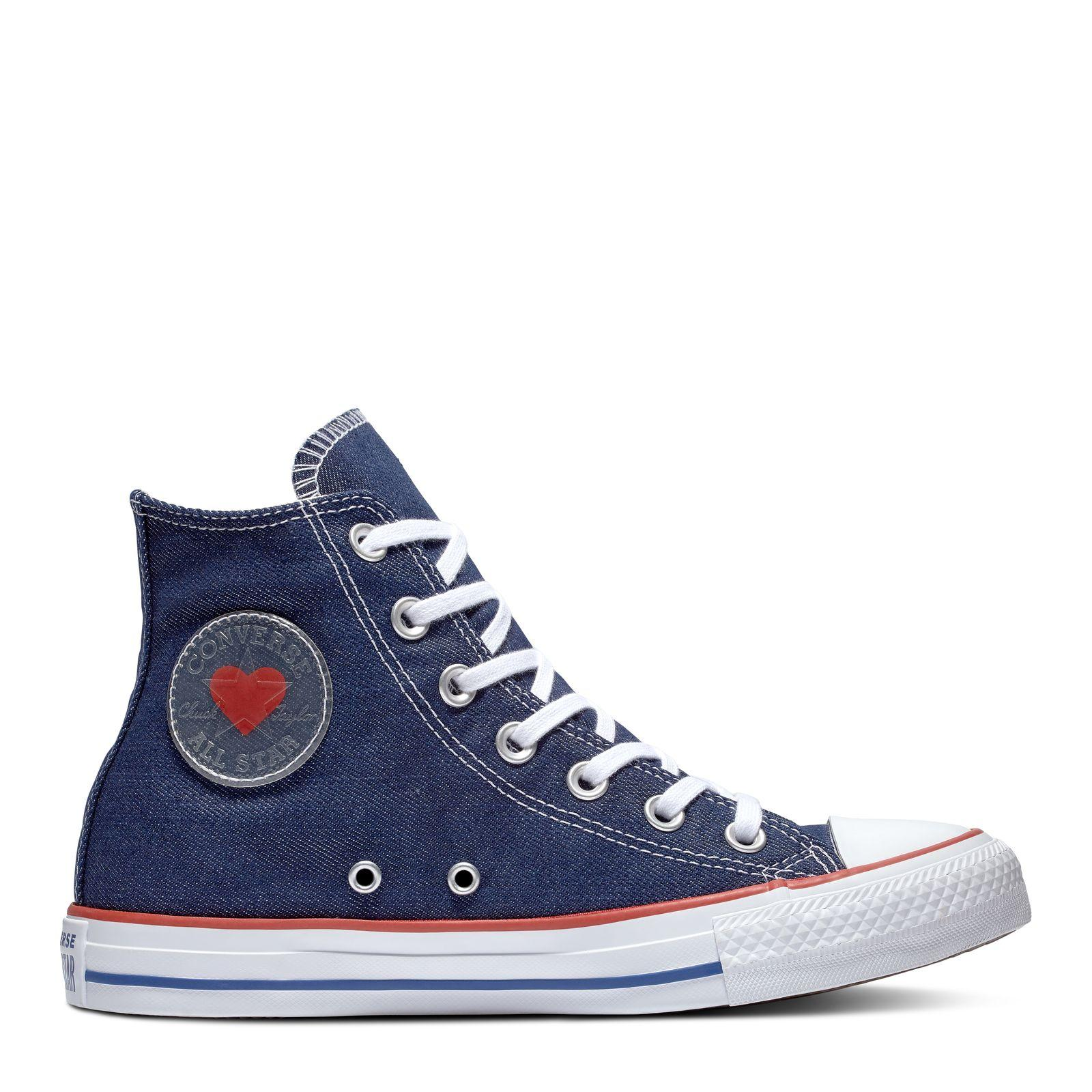 58e8f03ba6a1 CONVERSE CHUCK TAYLOR ALL STAR DENIM LOVE HI - INDIGO ENAMEL RED BLUE -
