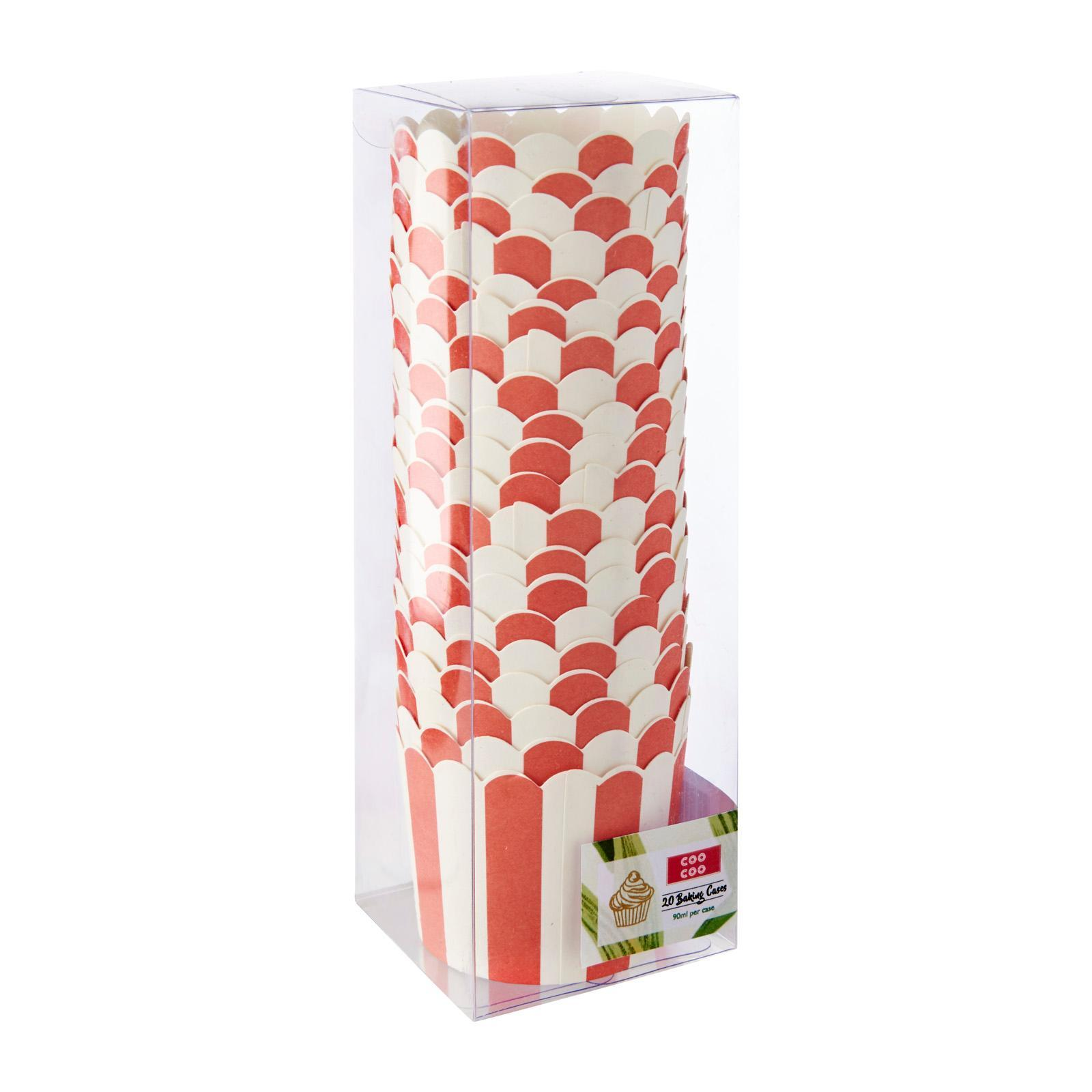 CooCoo Muffin And Cupcake Baking Cases Fire Engine Red Stripes