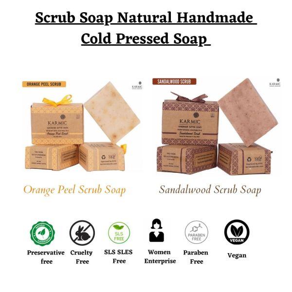 Buy Scrub Soap Handmade Natural Cold Pressed (Orange Peel/Sandalwood) Singapore