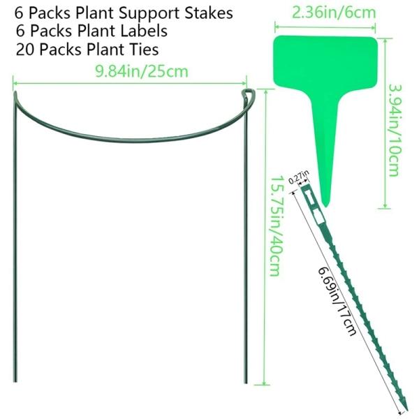 Garden Support Stake, 6-Pack Half Round Metal Garden Plant Supports, Garden Plant Support Ring, Garden Plant Support