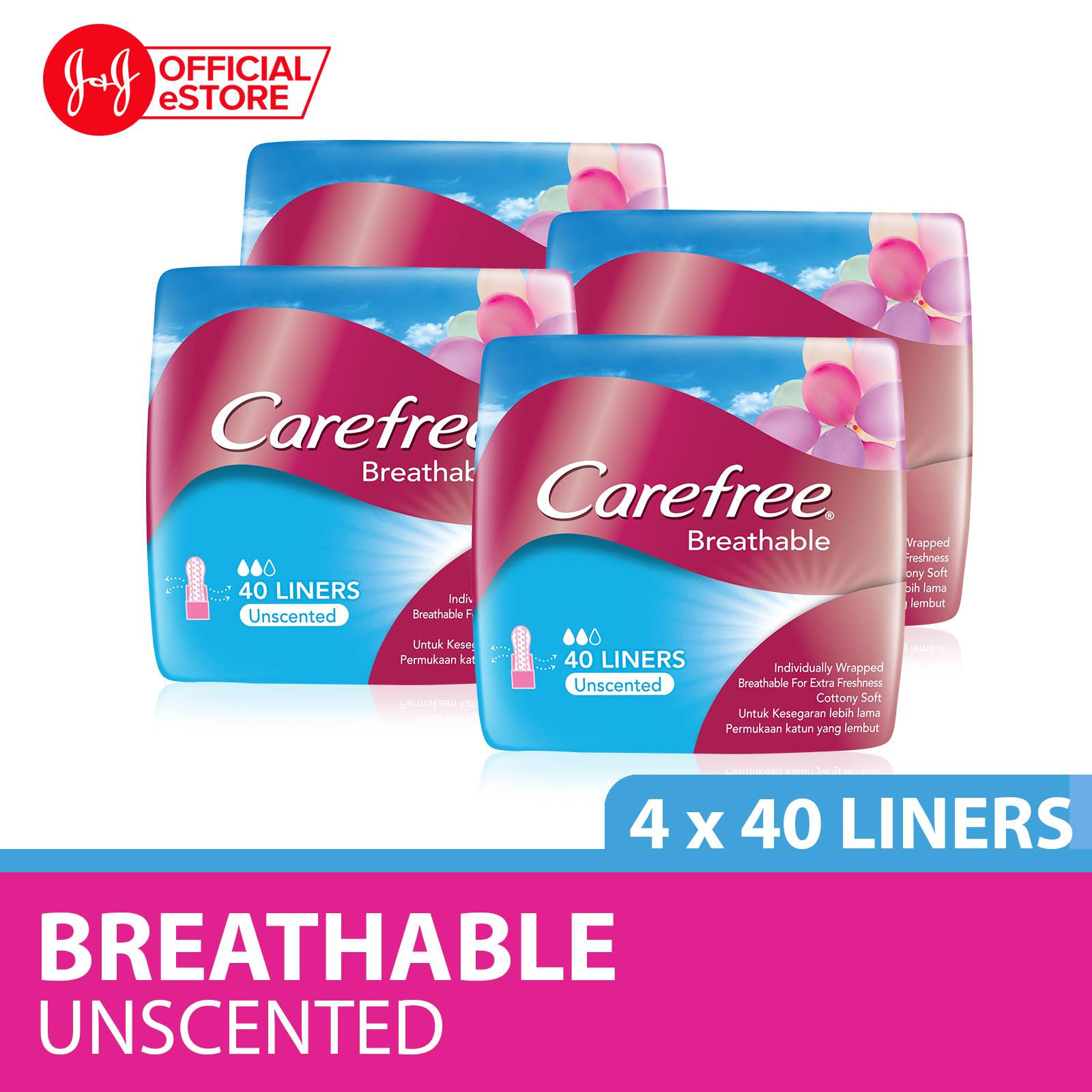 Carefree Breathable Unscented Panty Liners 40pcs X 4 By Johnson & Johnson Official Store.