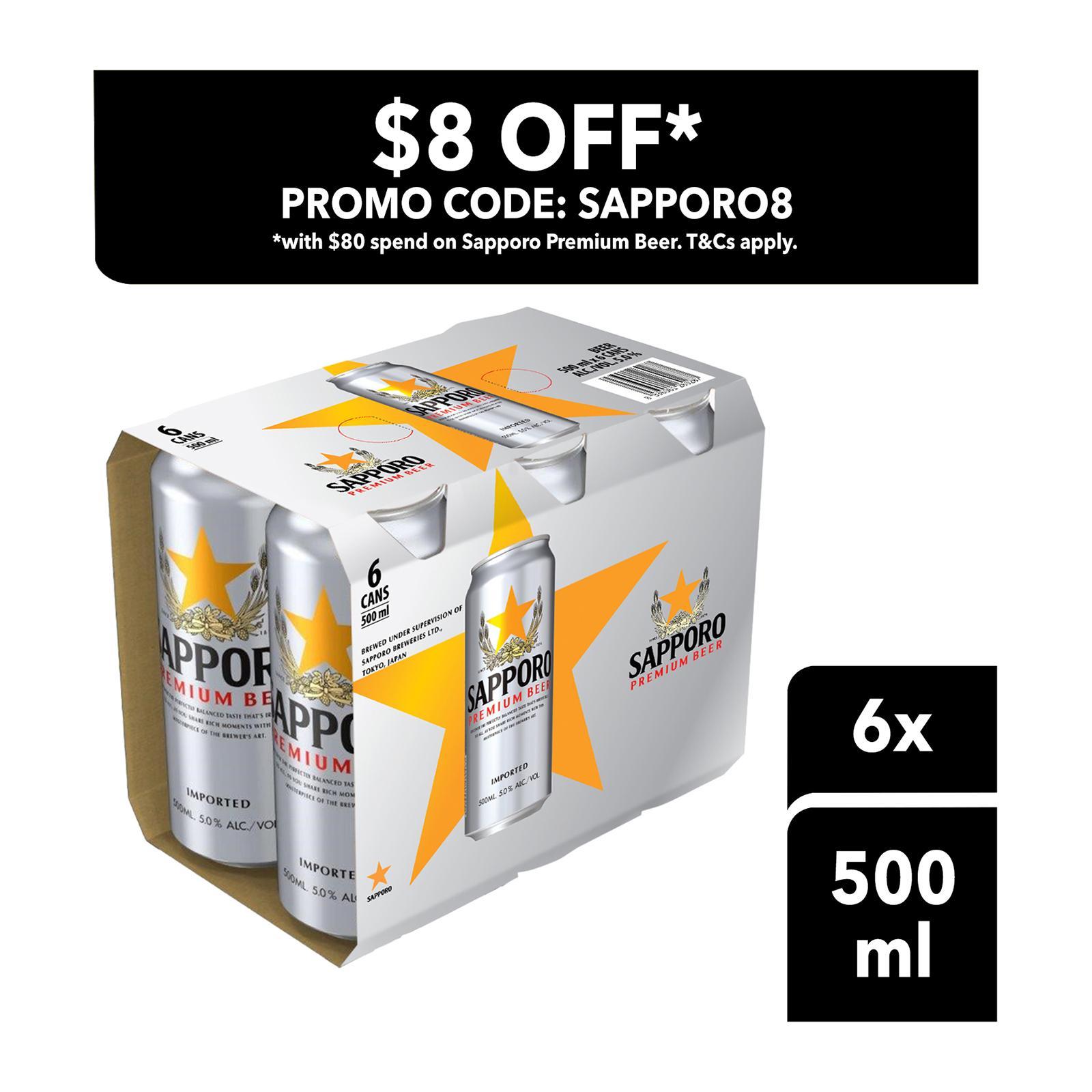 Sapporo Premium Draft Beer 500Ml 6 Pack