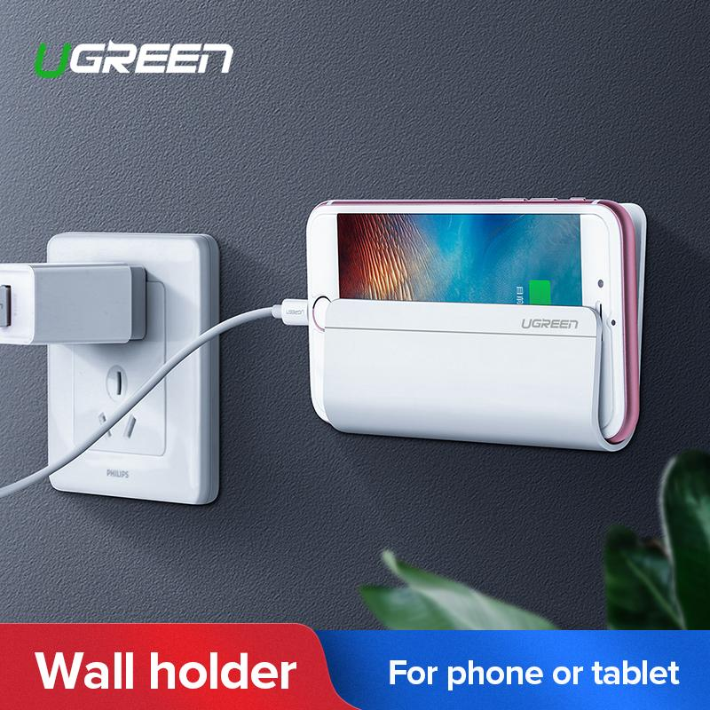 UGREEN Wall Mount Phone Holder with Adhesive Strips, Charging Holder for iPhone, iPad and