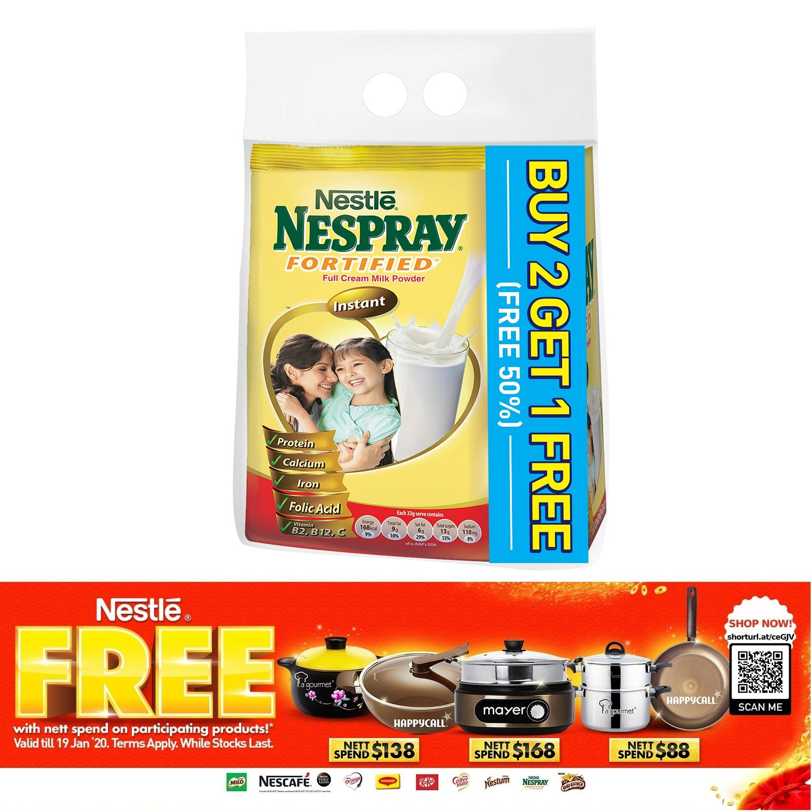 NESPRAY Instant Fortified Full Cream Milk Powder (2 Packs Free 1 Pack)