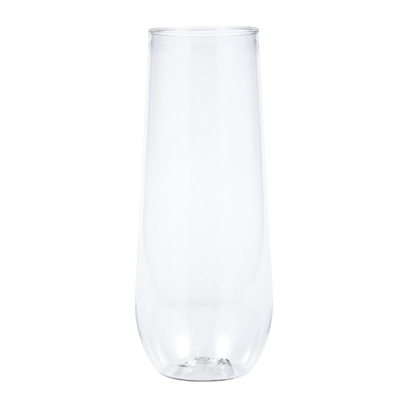 Creative Converting Clear 9 Oz Premium Plastic Stemless Champagne Flutes 4PCS/Box