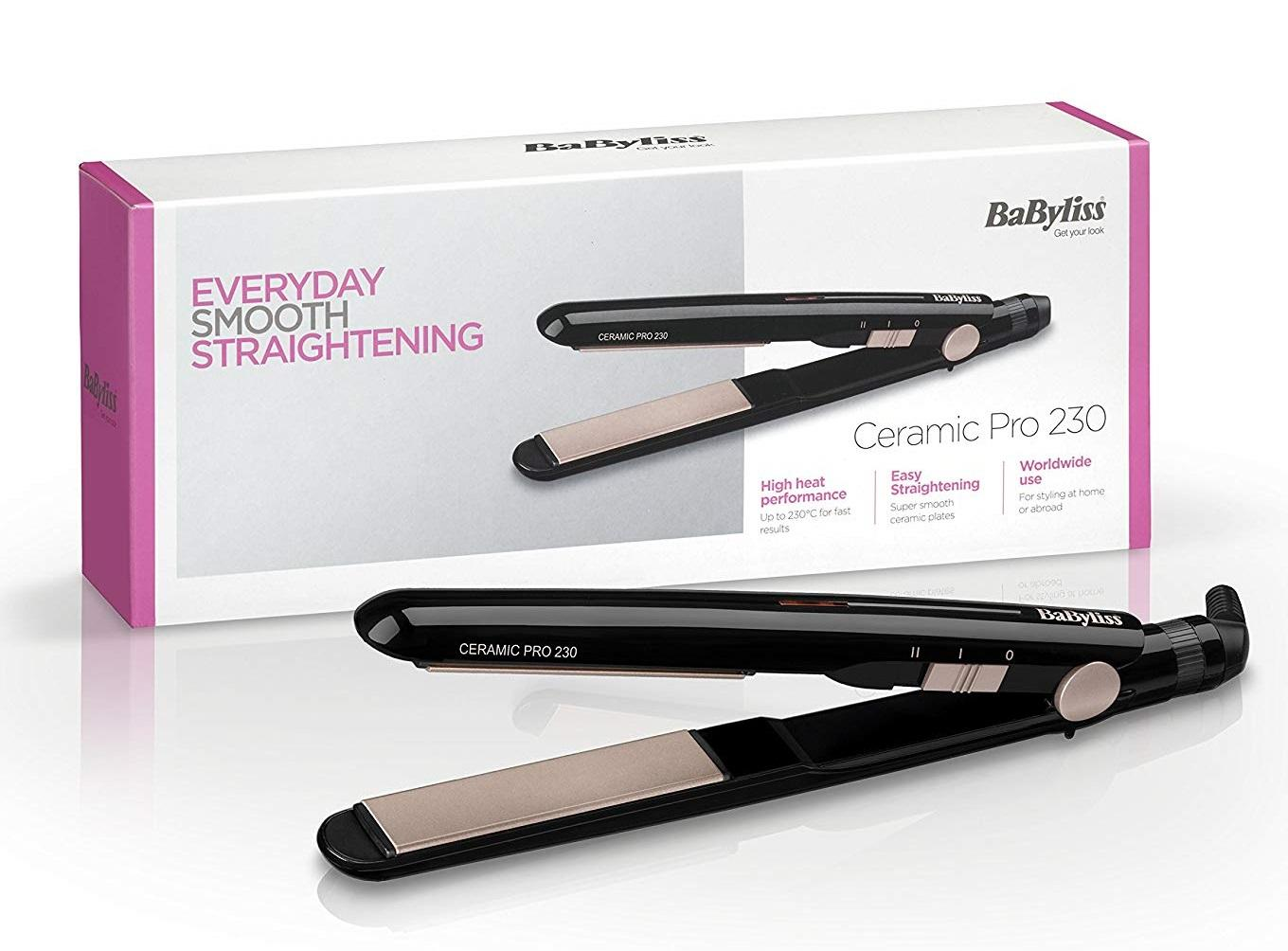 Babyliss 2069u Pro Ceramic 230 Hair Straightener With Fizz-Free Salon Straight Style[1 Year Local Guarantee] By Sg Shopping Mall.
