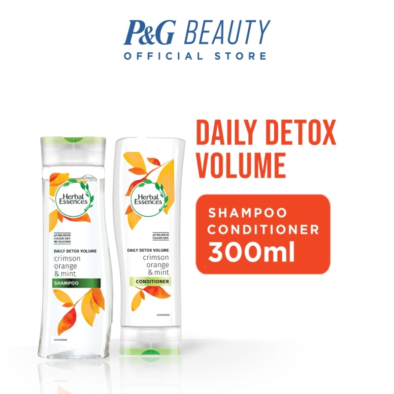 Buy [Bundle of 2] Herbal Essences Daily Detox Volume Crimson Orange & Mint Shampoo 300ml + Conditioner 300ml Singapore