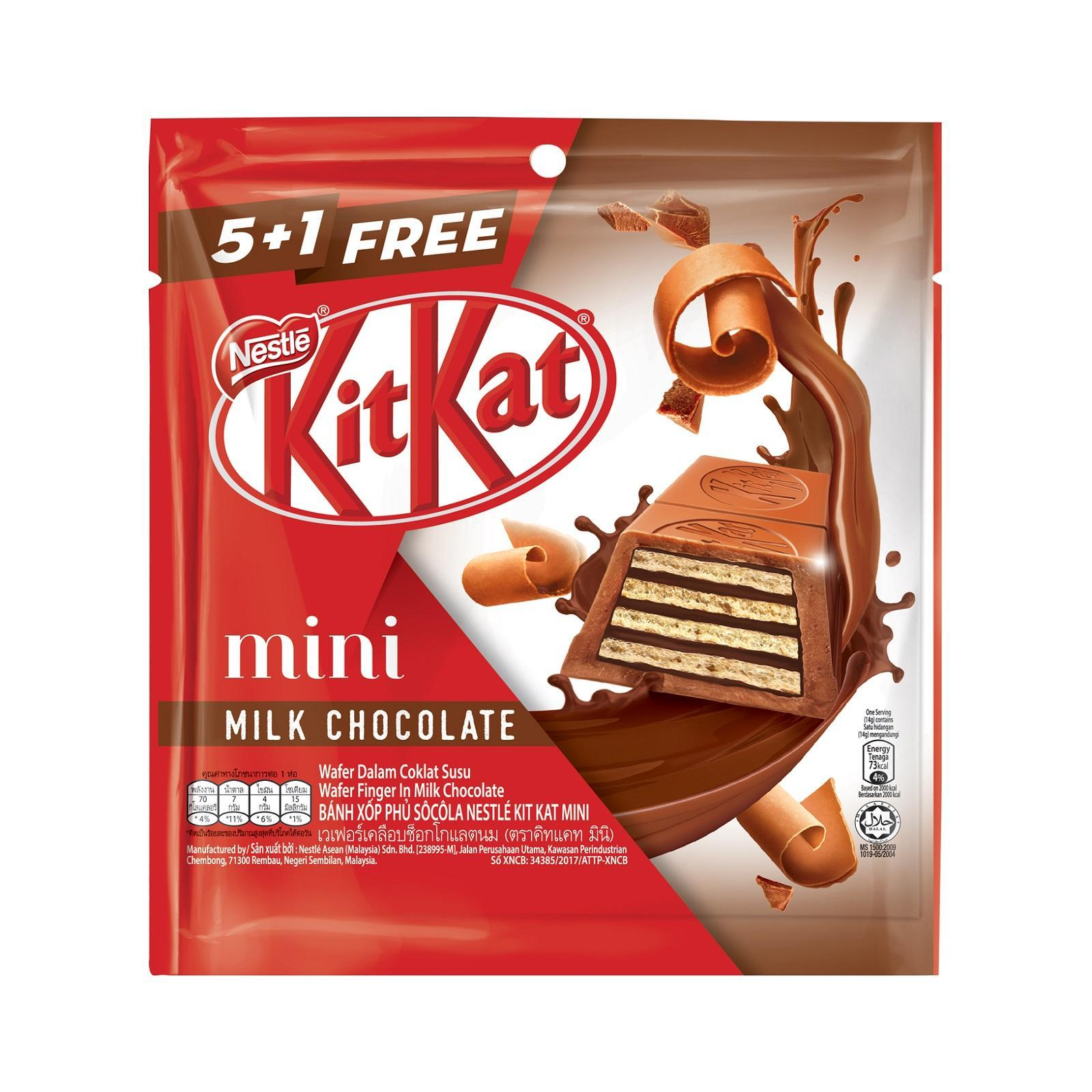 NESTLE KIT KAT Mini Milk Chocolate 5+1 Share Bag