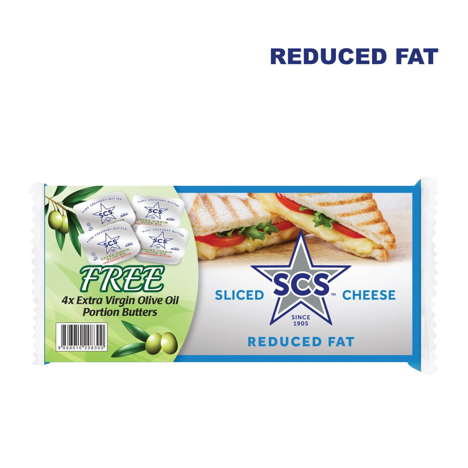 SCS Sliced Cheese Reduced Fat With Free 4 X Extra Virgin Olive Oil Portion Butters
