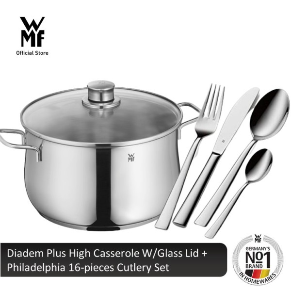 WMF Diadem Plus High Casserole W/Glass Lid + Philadelphia 16-pieces Cutlery Set Singapore