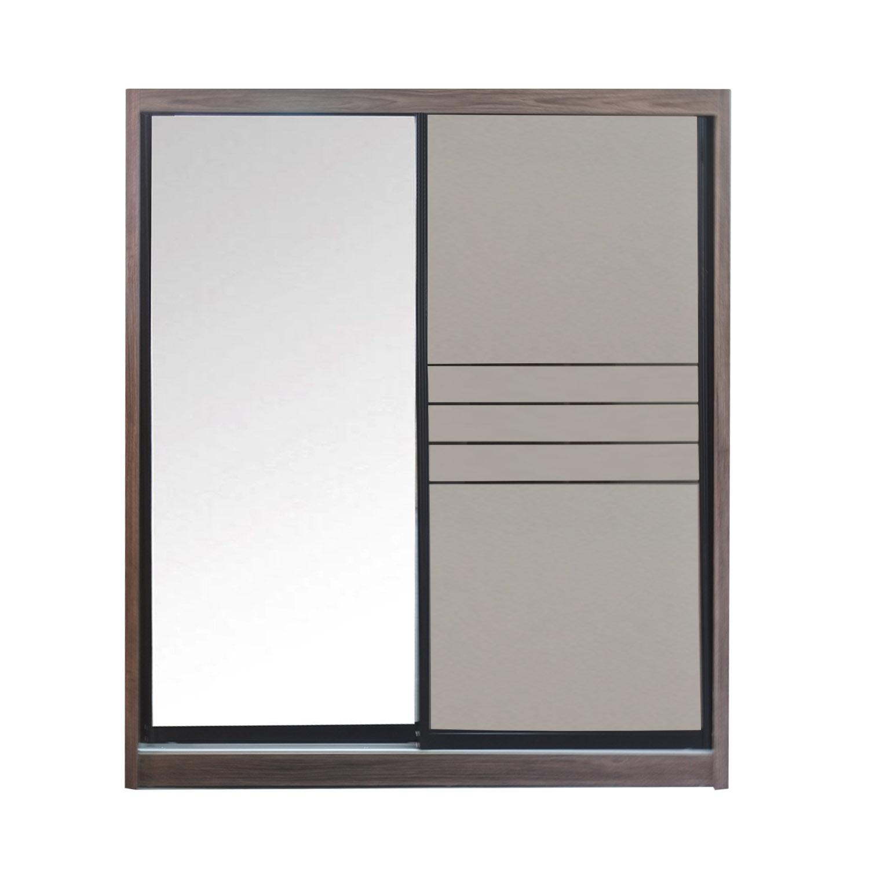 LIVING MALL_Raymo Sliding Wardrobe_5 FT Sliding Wardrobe With Full Mirror_FREE DELIVERY