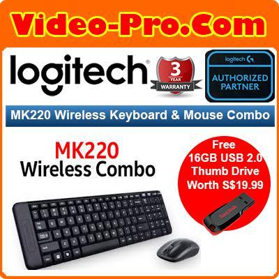 [Free 16GB Thumb Drive*] Logitech MK220 Wireless Keyboard And Mouse Combo  920-003235 3Years Local Warranty