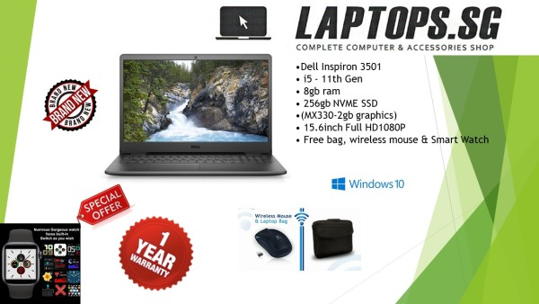 BRAND NEW Dell Inspiron 3501 / i5 - 11th Gen / 8gb ram / 256gb SSD / (MX330-2gb graphics) / 15.6inch Full HD1080P / Windows 10pro / Free bag, wireless mouse & Smart Watchspecial promotion  1YEAR WARRANTY