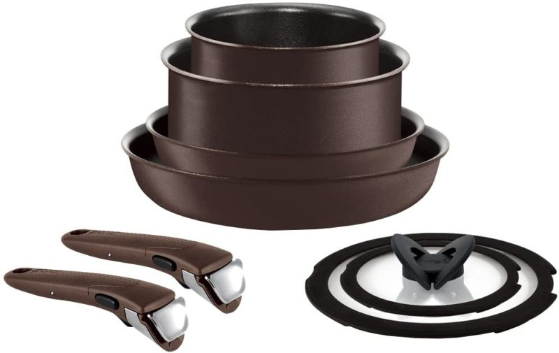 Tefal Premium Frypan 8 items Bundle Set -Ingenio Neo Walnut Excellence IH Induction and Gas Stove CompatibleTitanium Excellence with 2 T-fal holder Singapore