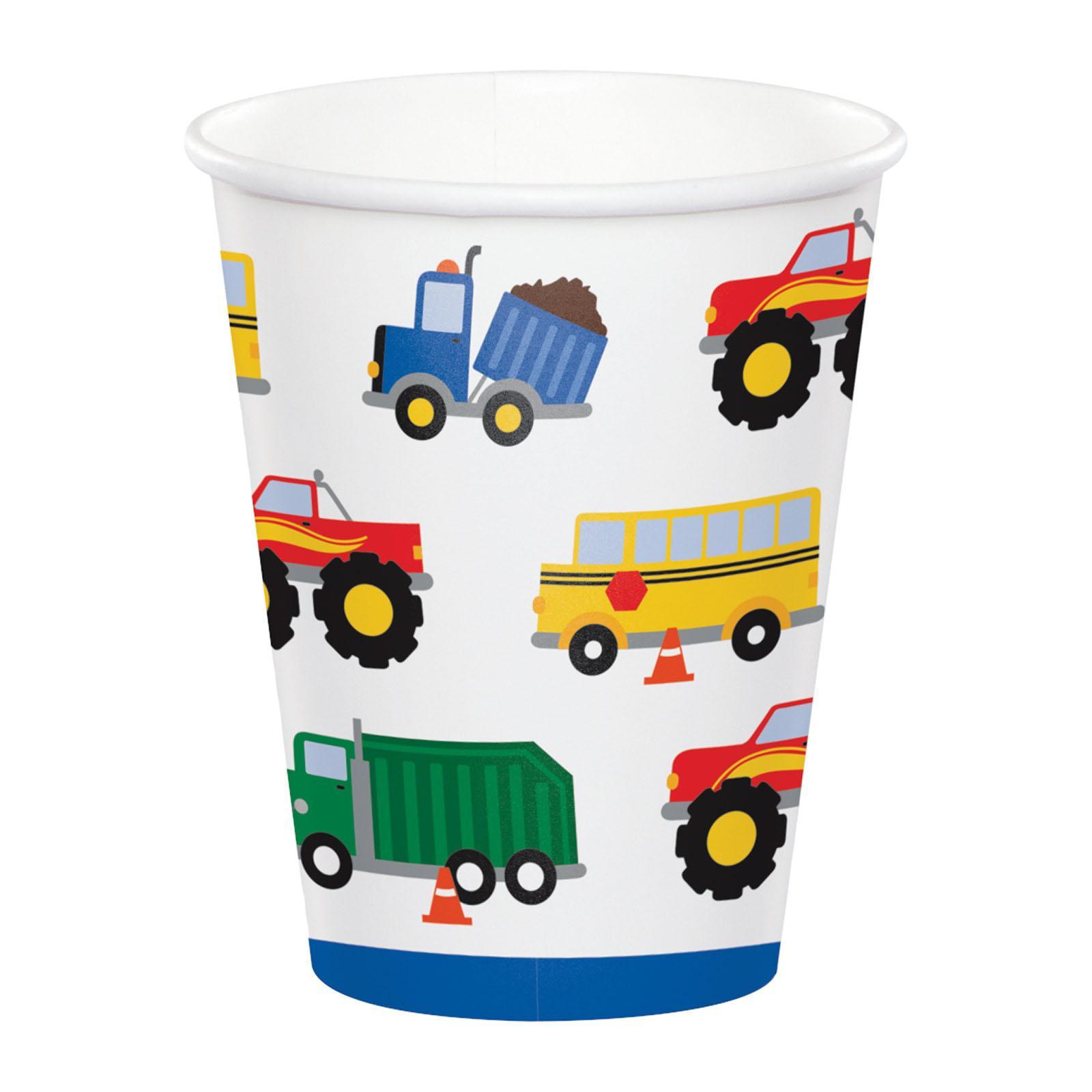 Creative Converting Traffic Jam 8 oz Paper Cups 8 PCS/ Pack