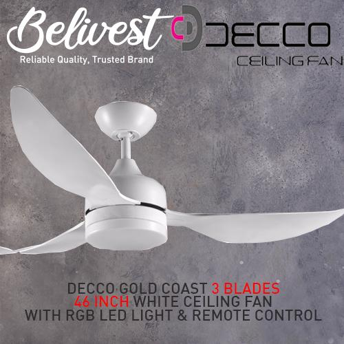 (BIG BIG SALES! LIMITED QTY ONLY!) DECCO GOLD COAST Ceiling Fan 3 Blades 36 Inch, 46 Inch & 52 Inch