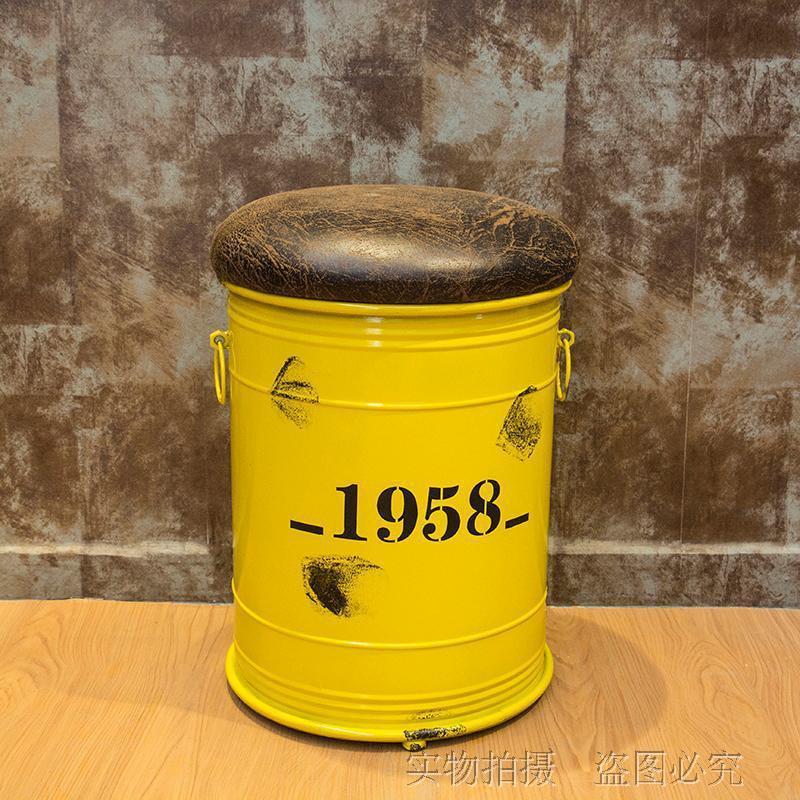 American Industrial Vintage Iron Art Oil Drum Sofa Round Stool Algam Storage Creative Bar Cafe Cool Stool